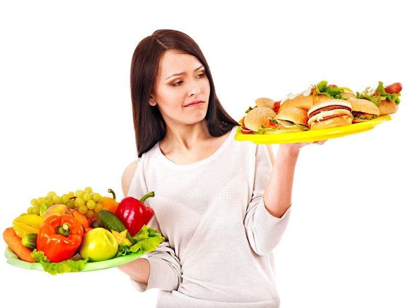 Comida basura y comida saludable