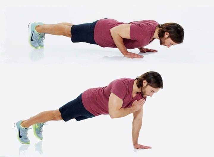 Flexión con toque de hombros
