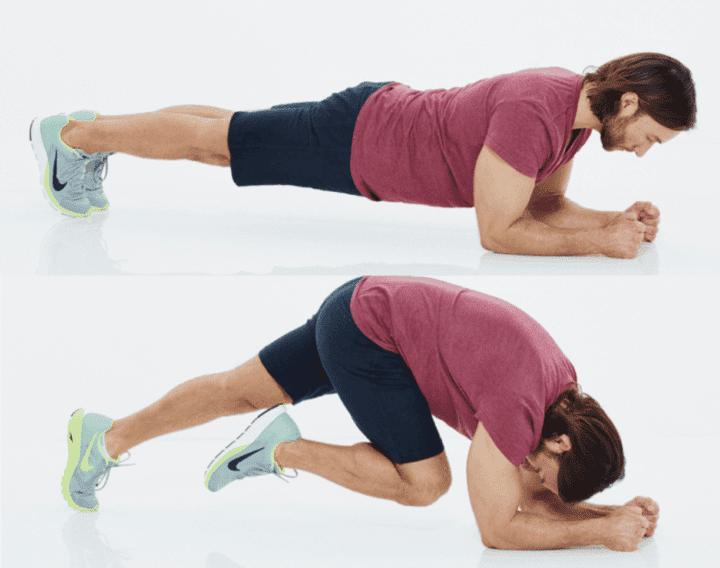 plancha con flexion de piernas