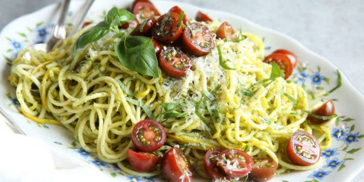 Receta de espaguetis de calabaza con pesto