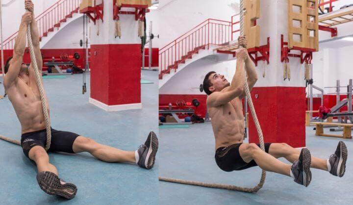 Subida a la cuerda desde sentado para hacerlo más fácil