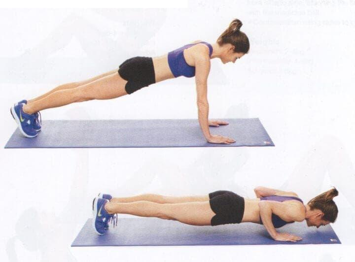 Flexiones de pecho para rutinas de HIIT