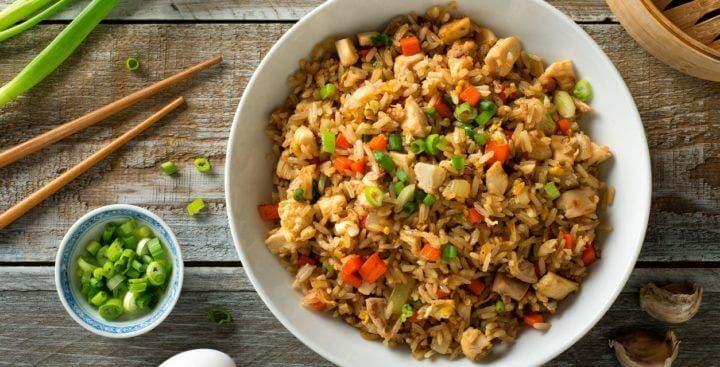 Receta de arroz frito con pavo
