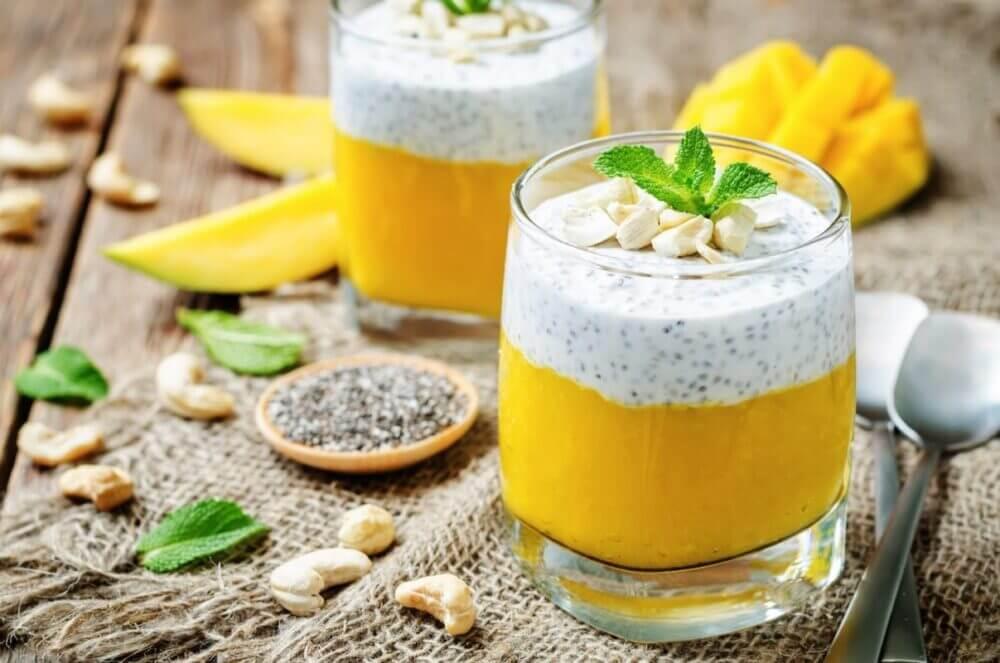 ¿Cúal receta de pudin con mango y chía es saludable?