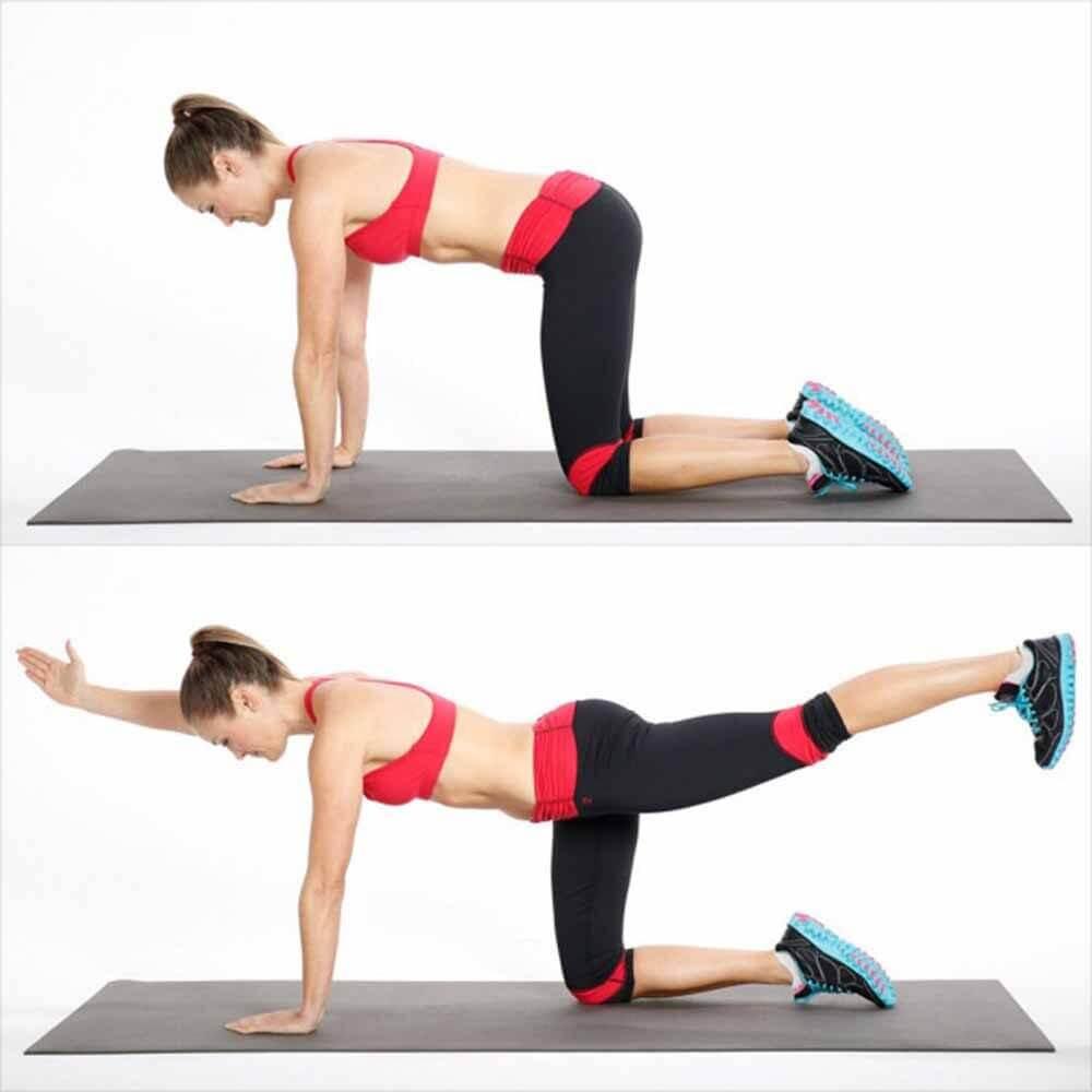 Elevación de pierna y brazo contrario