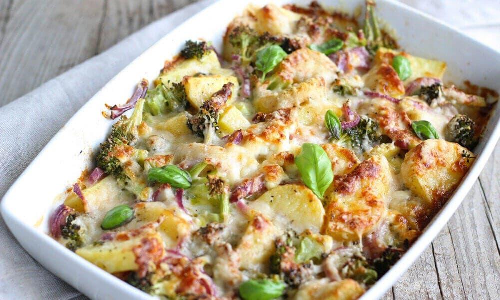 Receta de pavo gratinado con verduras como brócoli